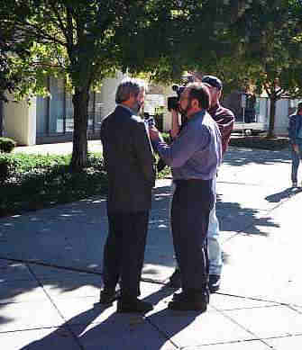 News 12 interviews Jim Miller at the protest